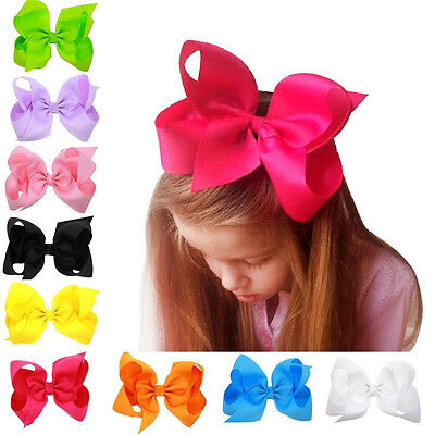 6 Inch New Big Bows Boutique Hair Clip Pin Alligator Clips Grosgrain Ribbon Bow