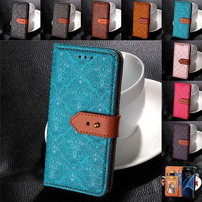 For Samsung Galaxy S10 S9 S8 S7 S6 Genuine Leather Buckle Flip Case Wallet Cover