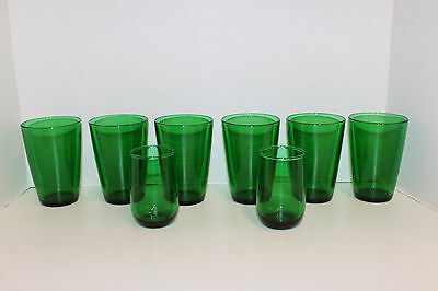 Anchor Hocking ~ Forest Green; 6 Tapered Tumblers Flat Bottom & 2 Juice Glasses