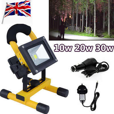 10/20/30/50W Portable Outdoor LED Floodlight Rechargeable IP65 Work Light Xmas