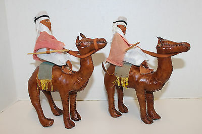 "Vintage Pair Hand Stitched Leather Camel Figurines With Riders; 8 1/2"" Tall"