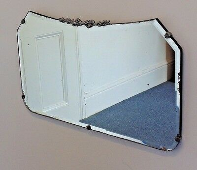 Vintage Bevelled Edge Rectangular Frameless Wall Mirror with Chain Art Deco Used