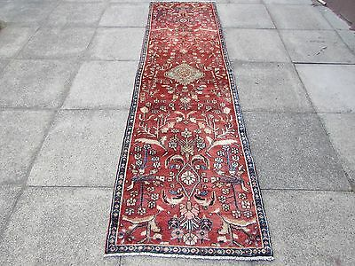 Old Traditional Hand Made Persian Rug Oriental Wool Red Narrow Runner 275x77cm