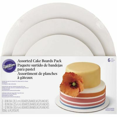 Wilton 3-Tier Assorted Stacked Greaseproof Cardboard Cake Boards Set, 6-Piece