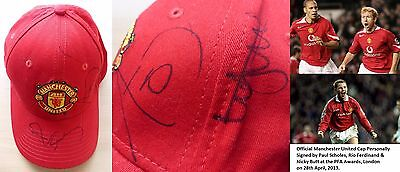 Official Manchester United Cap Signed by Scholes, Ferdinand & Butt (10376)