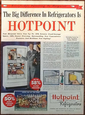 Hotpoint refrigerators 1948 ad original vintage art print 1940s home decor retro