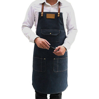Denim Bib Apron Barista Work Clothes Barber Pocket Workwear Faux Leather Straps
