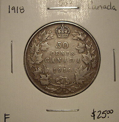 Canada George V 1918 Silver Fifty Cents - F