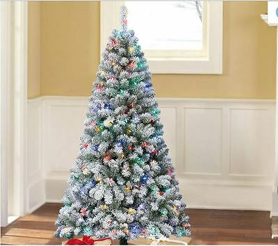 Flocked Christmas Tree Color Changing Led Lights White Lights 6 Ft Pre Lit