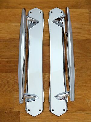 "1st PAIR OF LARGE CHROME 15"" ART DECO DOOR PULL HANDLES KNOBS PLATES FINGER PUSH"