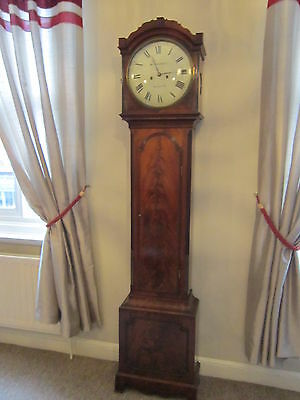Regency period flame mahogany long case clock