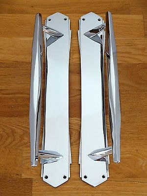 "4th PAIR OF LARGE CHROME 15"" ART DECO DOOR PULL HANDLES KNOBS PLATES FINGER PUSH"