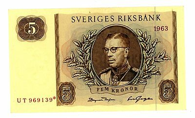 Sweden ... P-50r2 ... 5 Kronor ... 1963 ... *UNC*  Replacement.