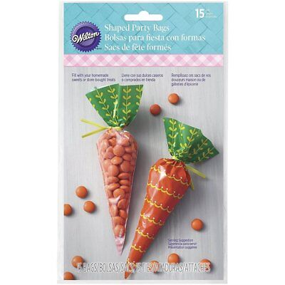 Easter Bunny Carrot Shaped Treat Bags 15 Ct Plastic Party Wilton