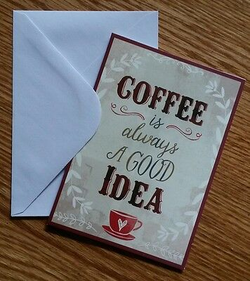 Set of 8 Blank Notecards & Envelopes ~  Coffee Is Always A Good Idea Cup