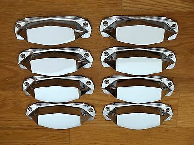 8 X Chrome Art Deco Door Or Drawer Pull Cup Handles Cupboard Furniture Knobs