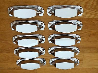 10 X Chrome Art Deco Door Or Drawer Pull Cup Handles Cupboard Furniture Knobs