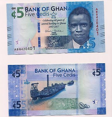 NEW: GHANA  5 Cedis  2017  Issue Commemorative Banknote, UNC Condition