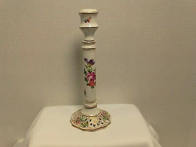 Vintage Dresden Ceramic Porcelain Candle Stick Holder Floral Pattern 7 3/4""
