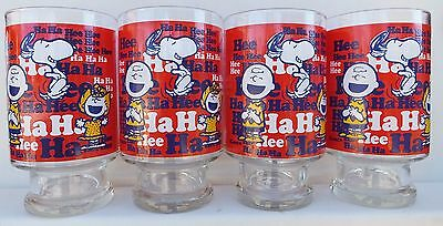 Peanuts Characters Snoopy Charlie Brown Woodstock 1965 32 oz. Glass Tumblers(4)