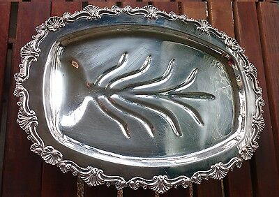 """Silver Plated Claw Footed Oval Meat Tray with Tree Well Rideau 19"""""""