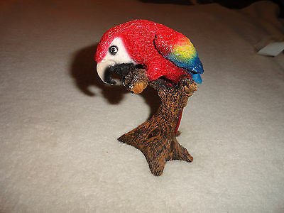 Colorful PARROT On Branch Statue Painted Resin Purchased at Disney in the 90's
