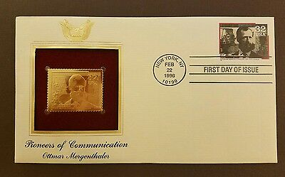 Ottman Mergenthaler Gold Replica Stamp Cover Pioneers Of Communication 1996