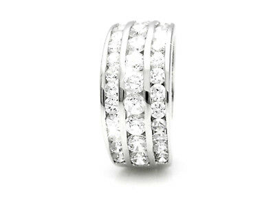 *STUNNING* Rhodium Plated Silver Cubic Zirconia Statement Ring for Ladies Size 6