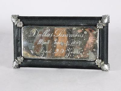 ANTIQUE SILVER PLATED FRAMED COFFIN PLATE c.1890 ~29 YEAR OLD MAN~ CASKET PLAQUE