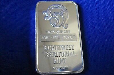 Rare!  5 Troy oz Silver Art Bar .999 Northwest Territorial Mint NWTM