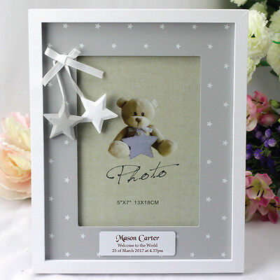 Personalised Baby Photo Frame -  Stars - Add a Name & Message