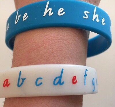 WristWords: Sight Words - set of 12 bands with words + alphabet, 5 glow-in-dark!