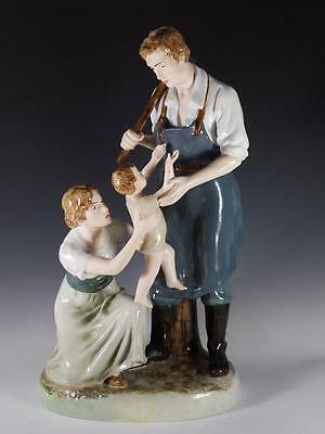"Large 22"" Royal Dux Figurine Blacksmiths Family #11559- Mother / Father & Child"