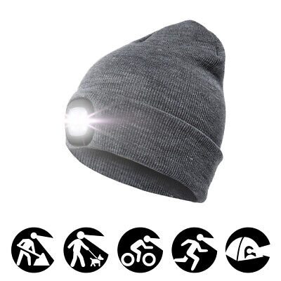 Mens Boys Knit Baggy Beanie Hat Cap +USB 4LED Light for Camping Running Climbing