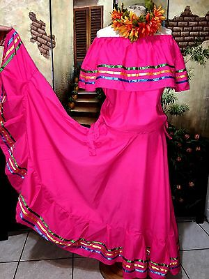Pink Multi Color Mexican Long Dress Mexico Folkloric Blouse & Skirt Beautiful!!!