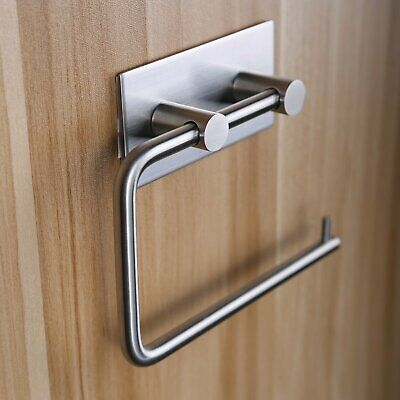 Bathroom Toilet Roll Paper Holder Towel Hook Self Adhesive 304 Stainless Steel