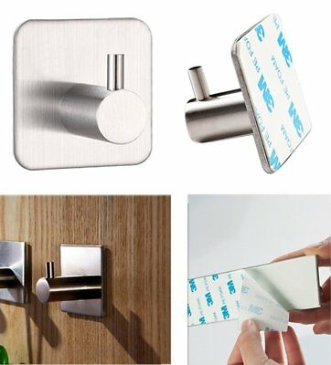 Stainless Steel Adhesive SingleHook Key Bathroom Kitchen Towel Hanger Wall Mount