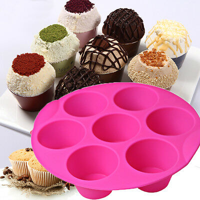 7 Silicone Cupcake Cake Muffin Chocolate Pudding Baking Tray Pan Moulds Tools