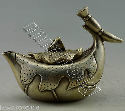 Collectible Decorated Old Handwork Silver Plate Copper Carved Lotus Tea Pot