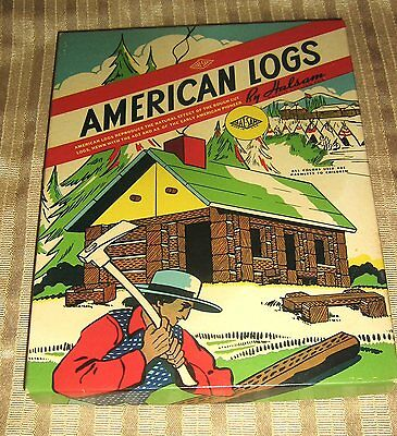 Vintage American Logs, Lincoln Logs, 1940's, Cabin, Made in USA, Wood Play Set