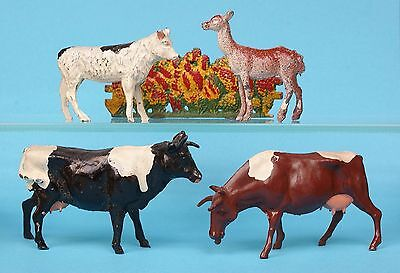 CRESCENT TOYS METAL FARM SERIES - COWS, CALF, DEER & HEDGEROW ~ Near MINT...!!