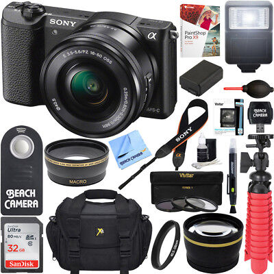 Sony Alpha a5100 Mirrorless Digital Camera 16-50mm Lens Black + 32GB Bundle
