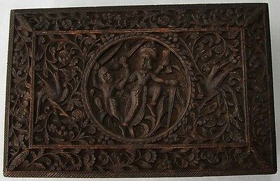 Antique Victorian Anglo Indian carved wood box. Vishnu or Shiva sword fighting?