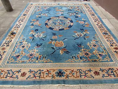 Antique Hand Made Art Deco Chinese Oriental Large Carpet Blue Wool 357x276cm