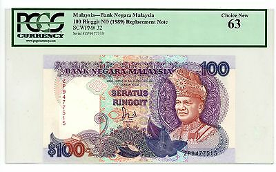 Malaysia ... P-32r ... 100 Ringgit ... ND(1989) ... CH*UNC* Replacement ZP.