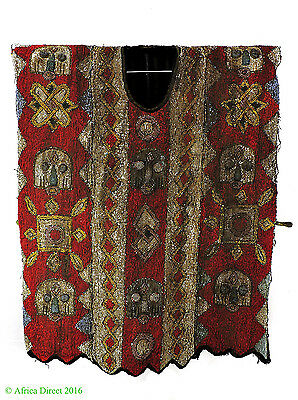 Yoruba Beaded Tunic Red Geometric Patterns Nigeria Africa SALE WAS $1900