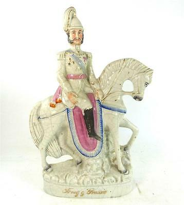 Antique Staffordshire Pottery Figure King Of Prussia On Horseback