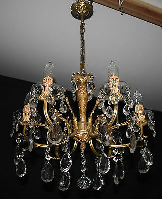 A Vintage French Brass  & Glass Chandelier  Ceiling Light (Ap3)