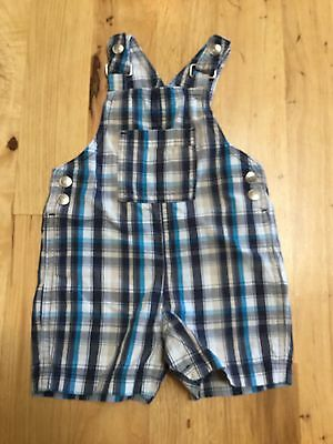Baby Boys Blue White Cotton Shorts Overalls Koala Baby Size 6-9 Months