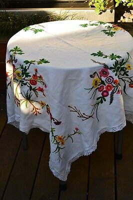 Vintage  white embroidered flowers rectangle table cloth No 220